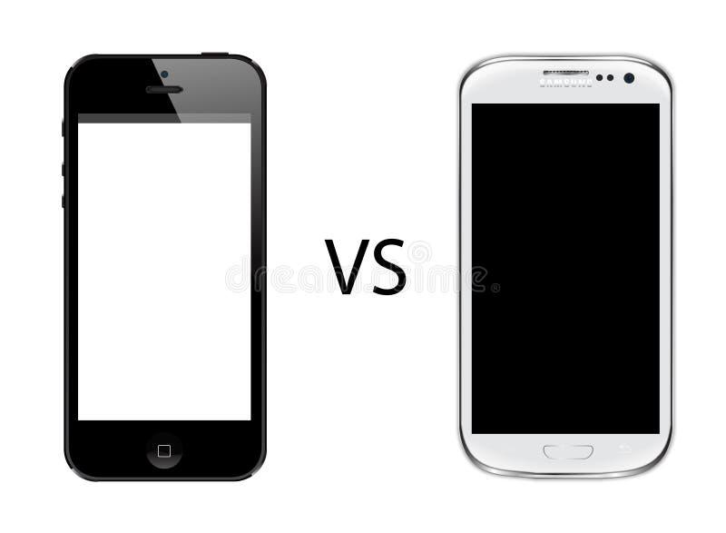 Iphone 5 versus de melkweg van Samsung s3 stock illustratie