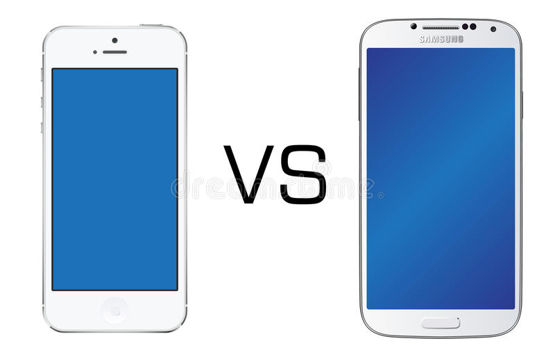 Iphone 5 white vs Samsung Galaxy S4 white royalty free stock photos