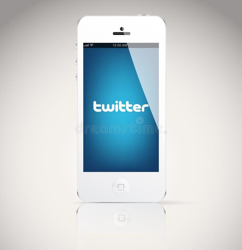 Iphone 5 apparat som visar den Twitter logoen. stock illustrationer