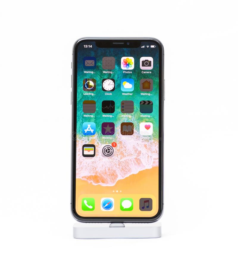 iPhone X from Apple against white background royalty free stock photos