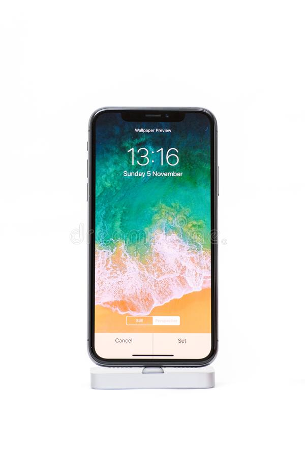 iPhone X from Apple against white background stock images