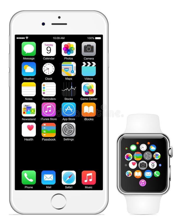 Iphone 6 Apple-horloge vector illustratie