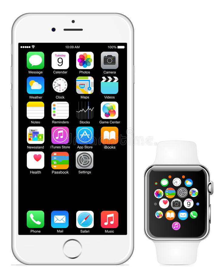 Iphone 6 Apple watch vector illustration