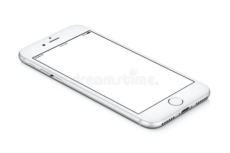 IPhone argenté d'Apple 7 mensonges de maquette sur la surface avec l'écran vide blanc image stock