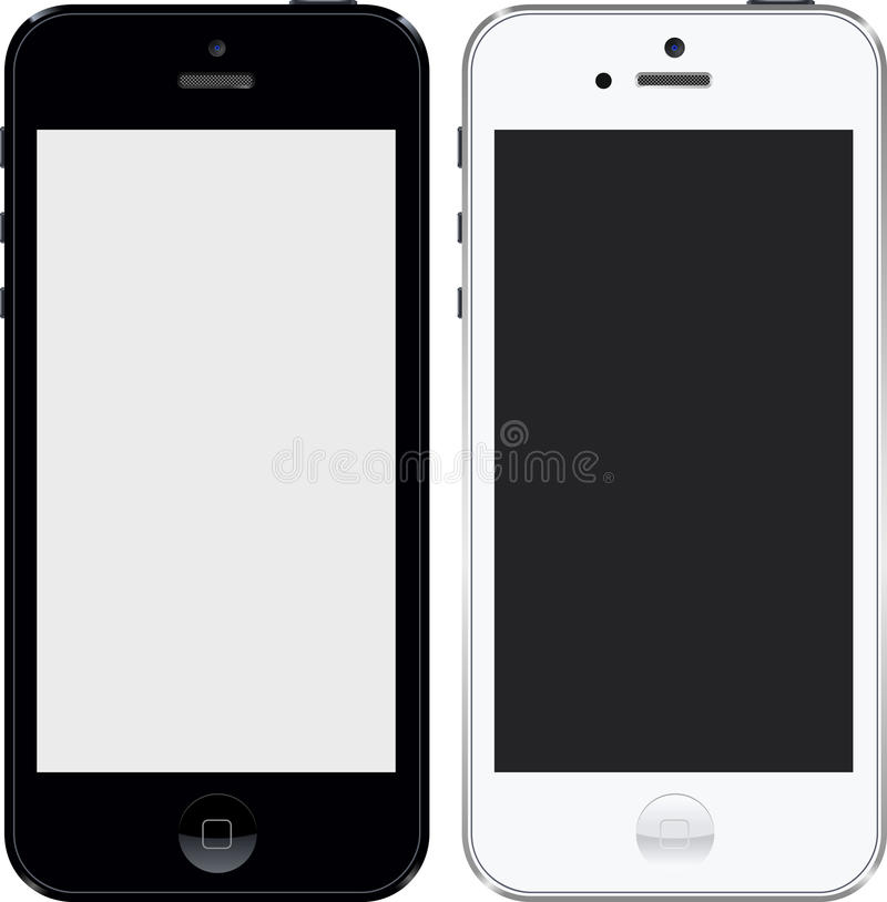 Iphone 5 black and white high res royalty free illustration