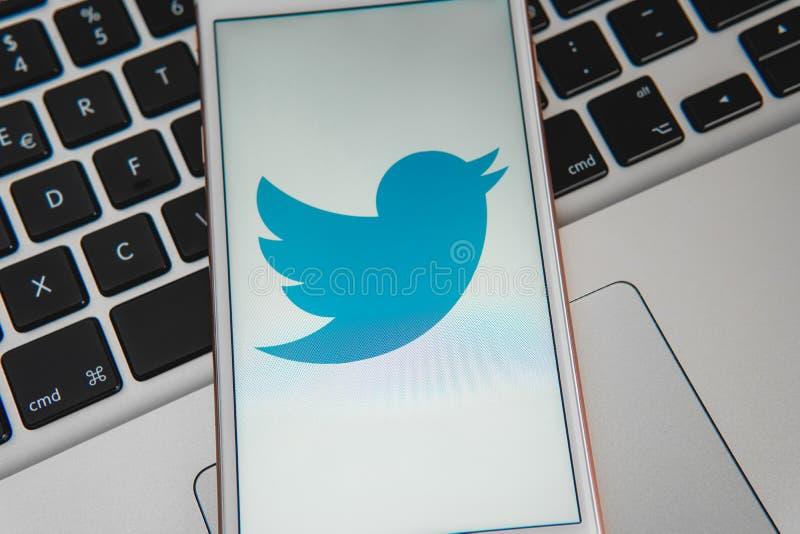 IPhone blanco con el logotipo de los medios sociales Twitter en la pantalla imagen de archivo libre de regalías
