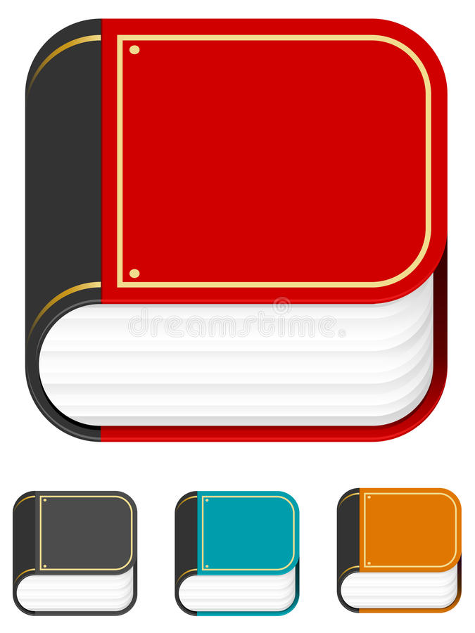 IPhone Book Icon. A set of four illustrations of a big book icon designed in the same shape and style as those often associated with the iPhone vector illustration