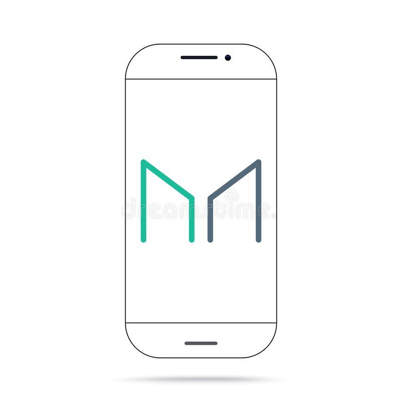 Iphone crypto del vector del icono del FABRICANTE MKR DAI stock de ilustración