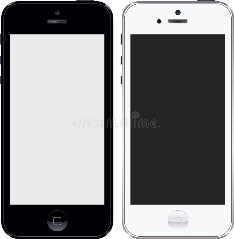 Iphone 5 czarny i biały wysokich res royalty ilustracja