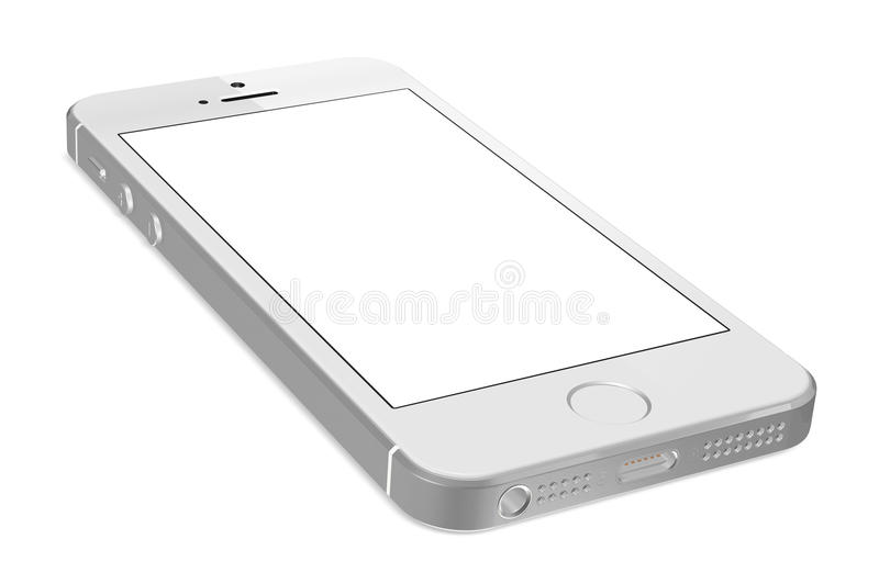 IPhone de prata 5s com a tela branca vazia foto de stock
