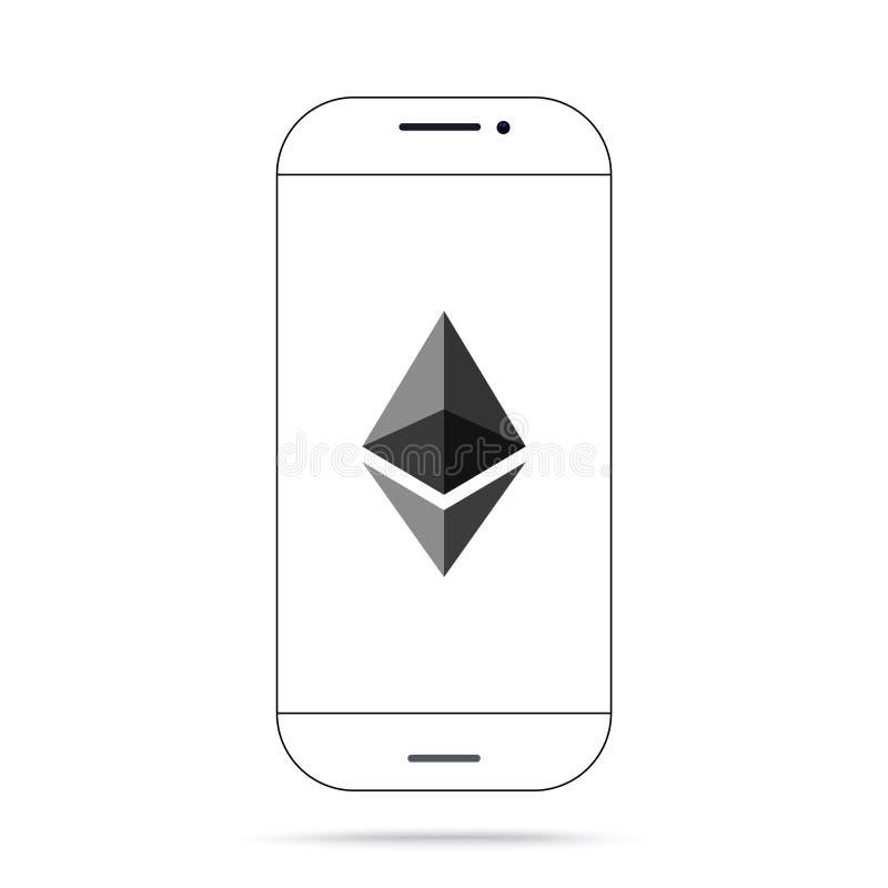 Iphone de vecteur d'icône de cryptocurrency d'Ethereum ETH illustration stock