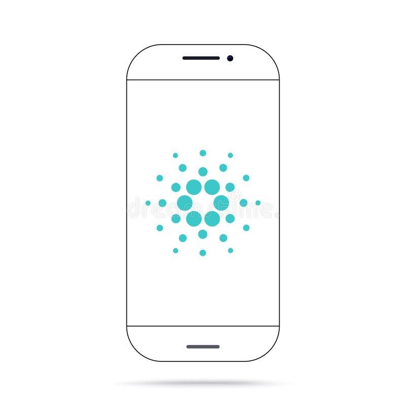 Iphone del vector del icono del cryptocurrency del ADA de Cardano stock de ilustración
