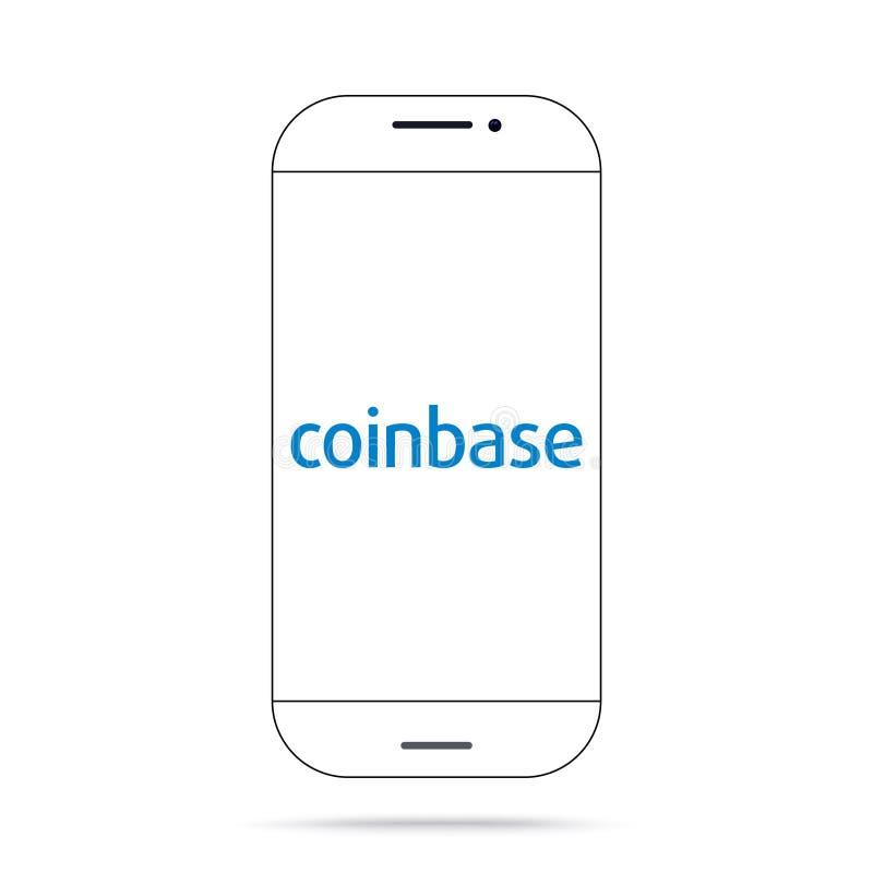 Iphone do vetor do ícone do cryptocurrency de Coinbase ilustração royalty free