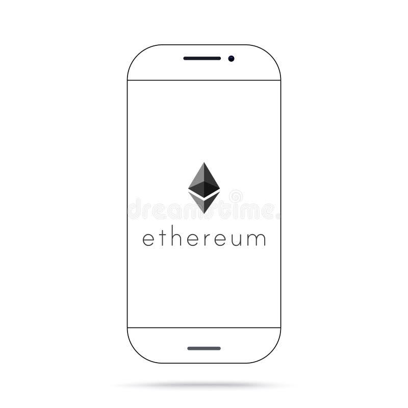 Iphone do vetor do ícone do cryptocurrency de Ethereum ETH ilustração do vetor