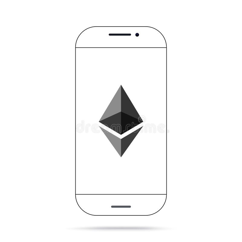 Iphone do vetor do ícone do cryptocurrency de Ethereum ETH ilustração stock