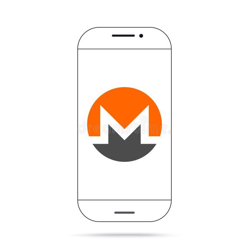 Iphone do vetor do ícone do cryptocurrency de Monero XMR ilustração do vetor
