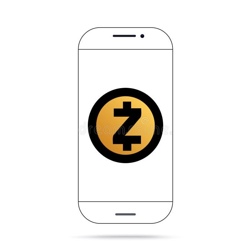Iphone do vetor do ícone do cryptocurrency de Zcash ZEC ilustração do vetor