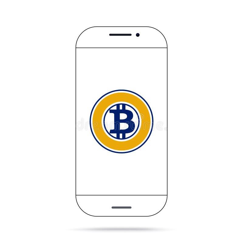 Iphone do vetor do ícone do cryptocurrency do ouro BTG de Bitcoin ilustração stock