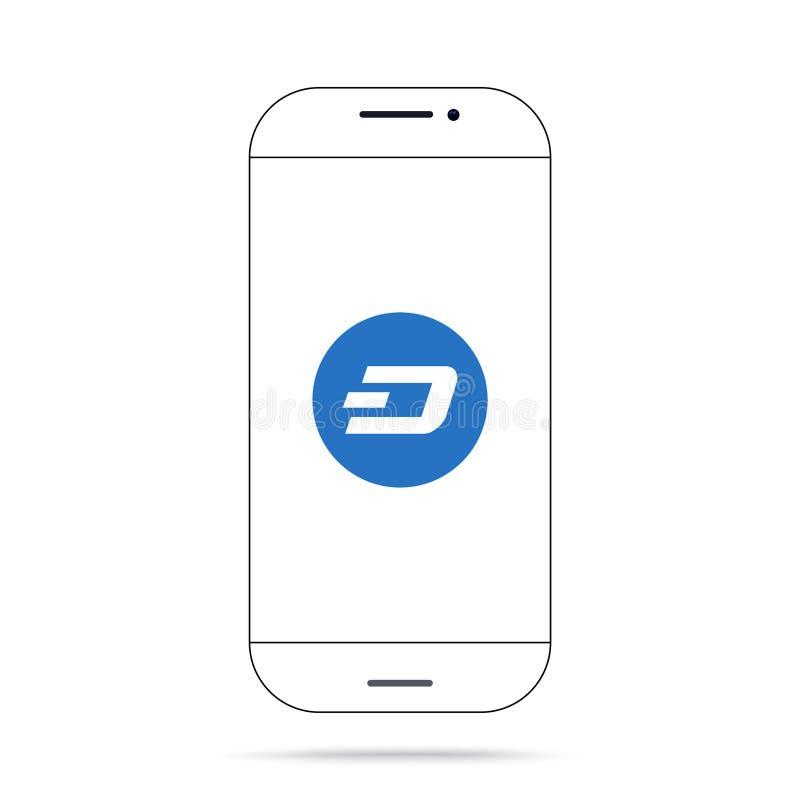 Iphone do vetor do ícone do cryptocurrency do TRAÇO ilustração stock