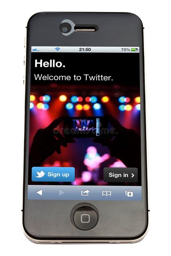 iPhone e Twitter de Apple imagens de stock