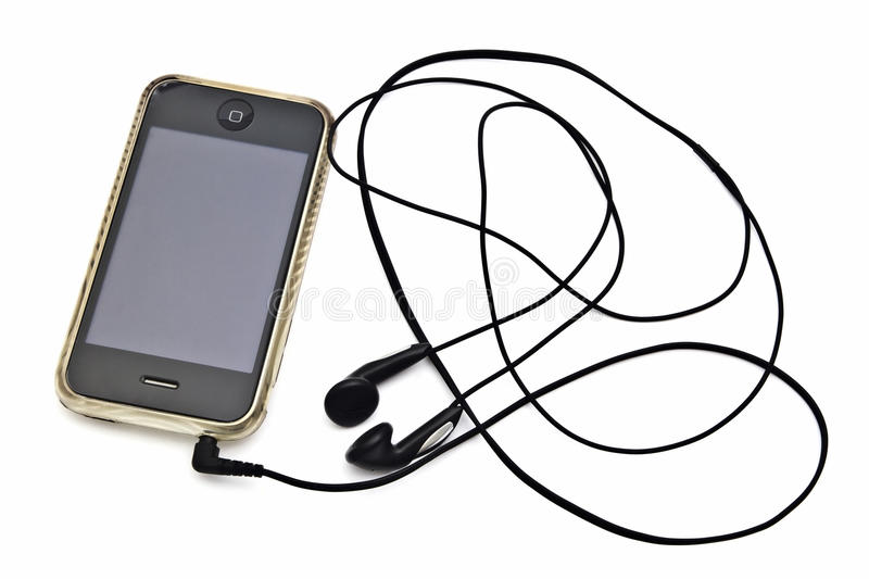 Iphone and earphone. Closeup on white background stock photos