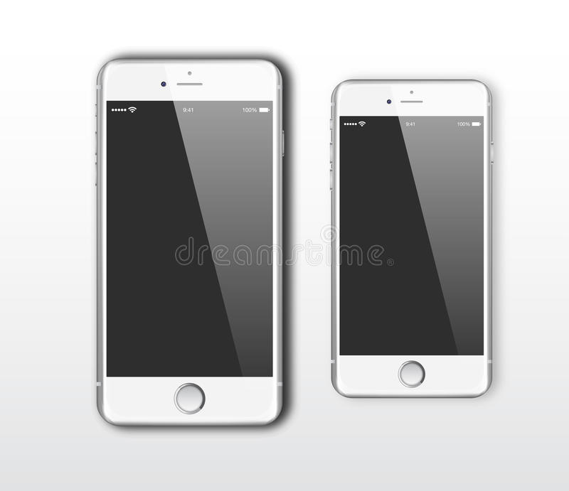 IPhone 6 en iPhone 6 plus royalty-vrije illustratie