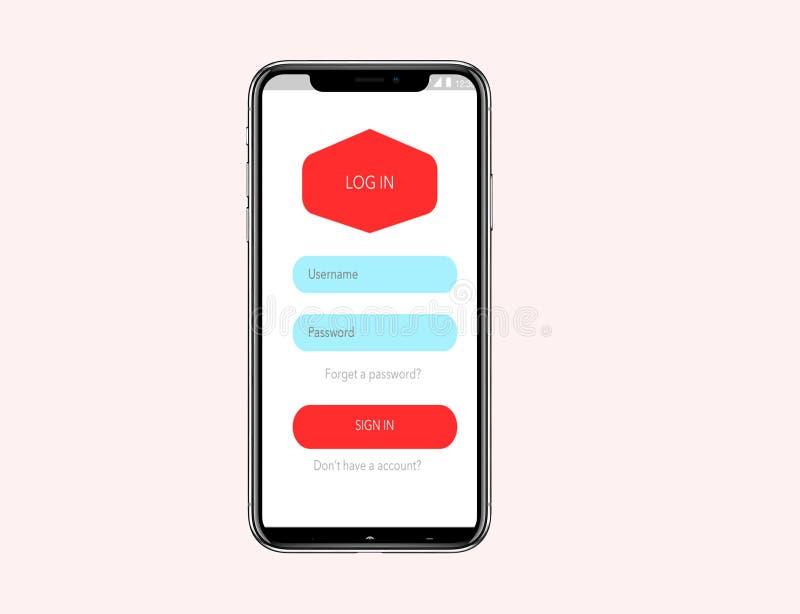 Iphone X falso encima del wireframe del concepto de la clave minimalista stock de ilustración