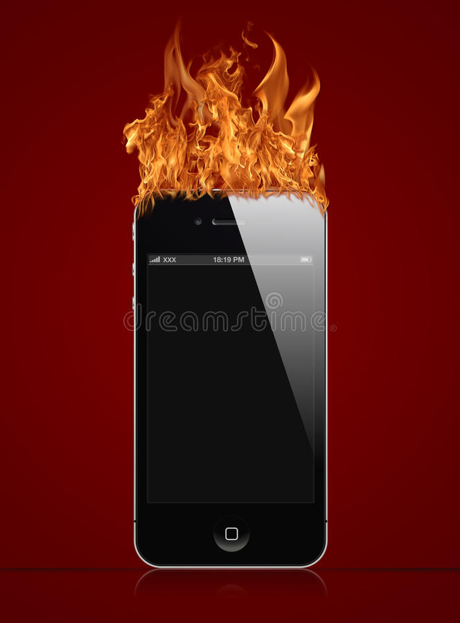 Iphone fire. Iphone a smartphone that burns with fire