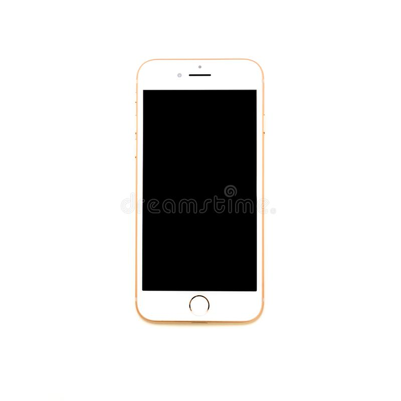 iPhone 8 geïsoleerd gebeëindigd Goud royalty-vrije stock foto