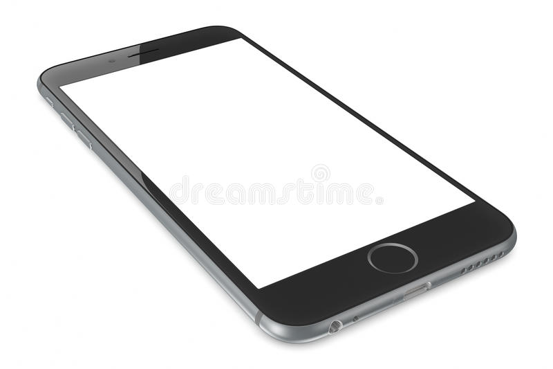 IPhone grigio 6 dello spazio con lo schermo in bianco illustrazione vettoriale