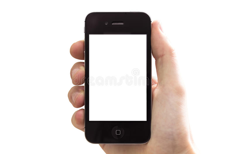 Iphone in hand stock images