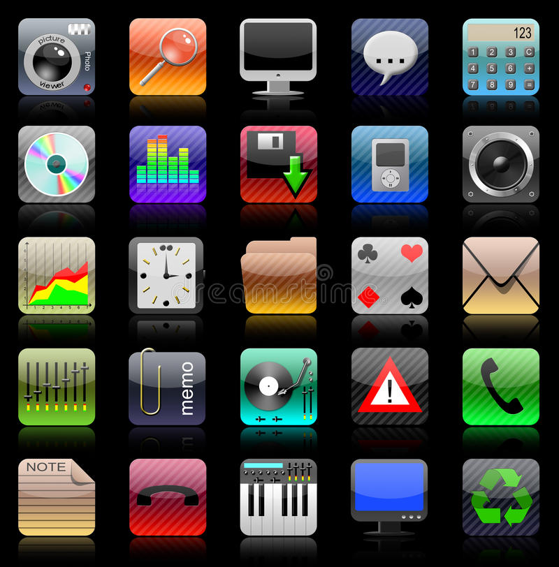 Iphone icon set. Iphone icons on black background