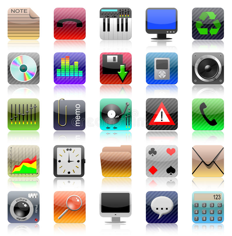 Iphone icon set. Iphone icons on white background