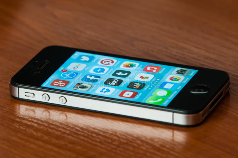 IPhone with Ios7 stock photos