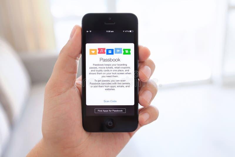 IPhone 5 in mano maschio con il libretto di banca sullo schermo immagini stock libere da diritti