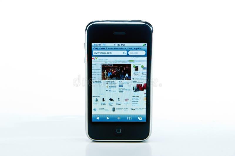 IPhone met eBay website royalty-vrije stock afbeelding