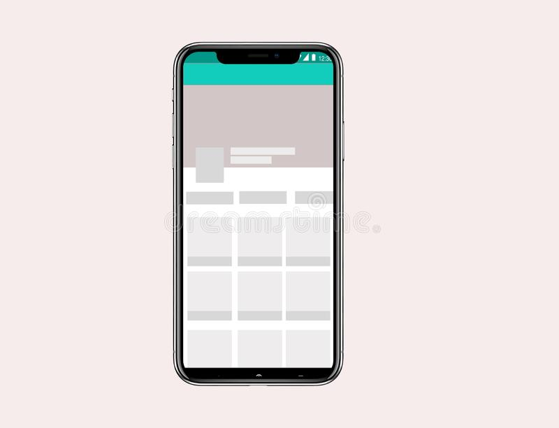 Iphone X Mock Up Galery Apps royalty free illustration