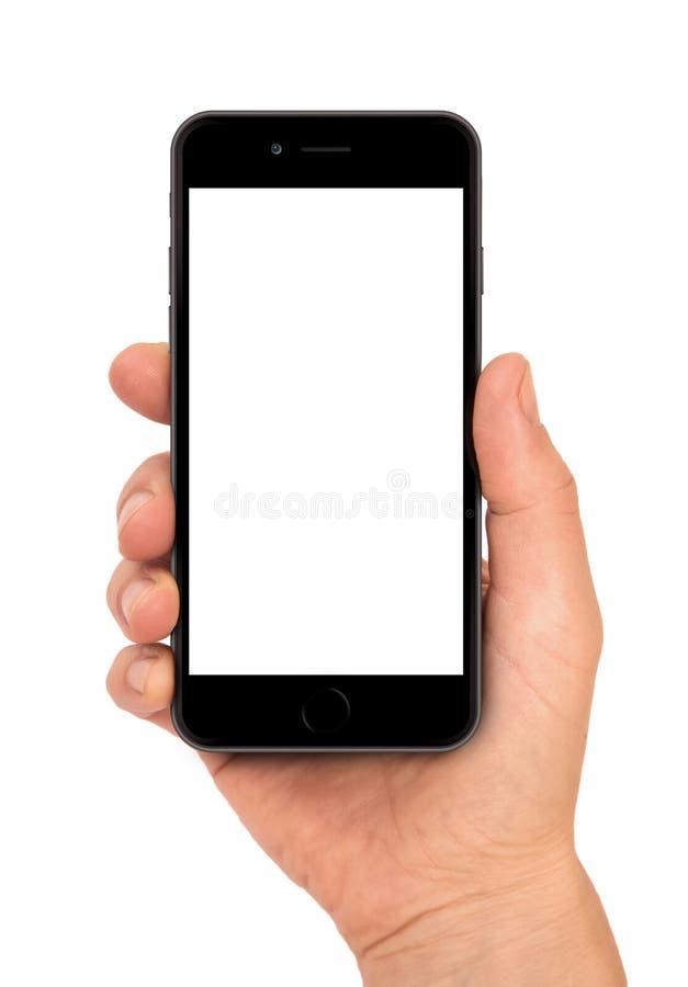 IPhone 6 na mão fêmea fotografia de stock royalty free