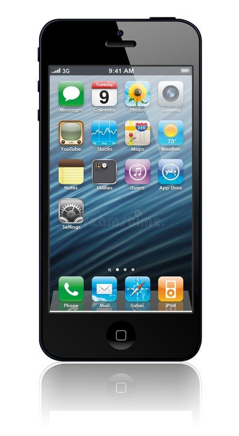 iPhone novo 5 de Apple com ícones para dentro ilustração stock