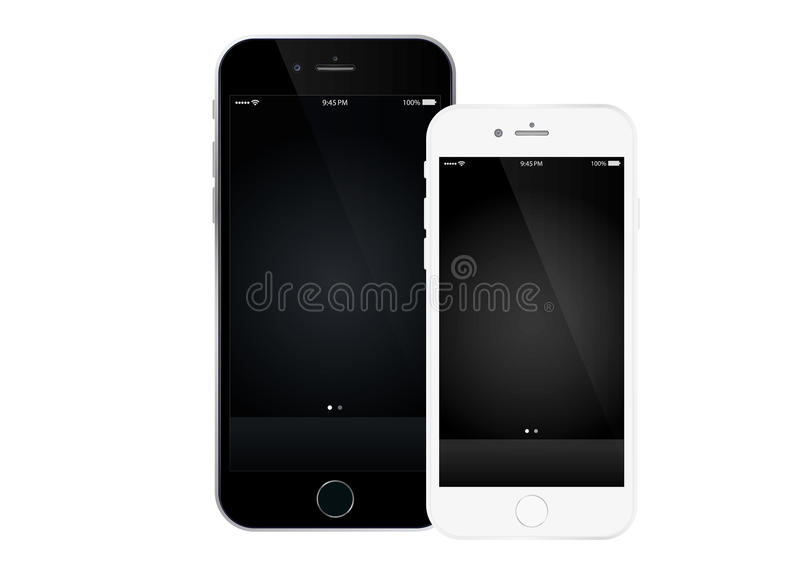 Iphone 6 and Iphone 6 Plus. The New Apple Iphone 6 & Iphone 6 plus with Retina display. With replaceable wallpaper and icons, isolated on white. Vector stock illustration