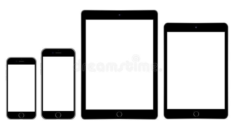Iphone 6 plus IPad luft 2 och iPadkortkort 3 vektor illustrationer