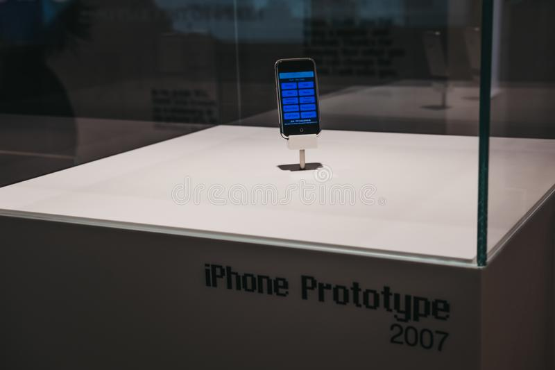 IPhone prototype on exhibit inside Apple Museum in Prague, Czech Republic. Prague, Czech Republic - August 28, 2018: iPhone prototype on exhibit inside Apple stock photo