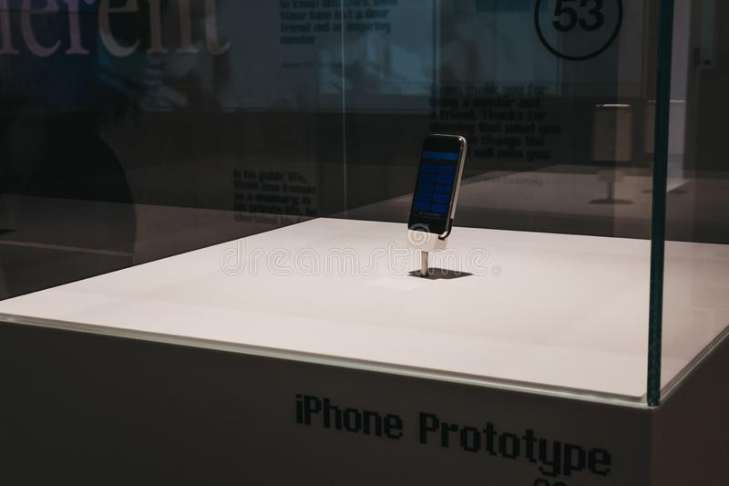 IPhone prototype on exhibit inside Apple Museum in Prague, Czech Republic. Prague, Czech Republic - August 28, 2018: iPhone prototype on exhibit inside Apple stock images