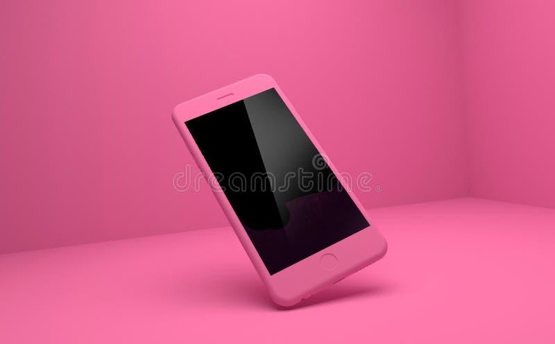 IPhone rosado en fondo rosado stock de ilustración
