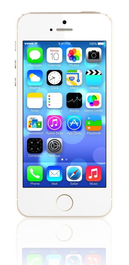 IPhone 5s del oro que muestra la pantalla de inicio con iOS7 stock de ilustración