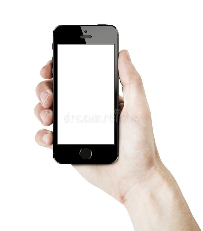 Iphone 5s en la mano masculina fotos de archivo