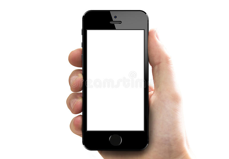 Iphone 5s in hand. Hand holding a new iPhone 5s with white blank screen. isolated on white