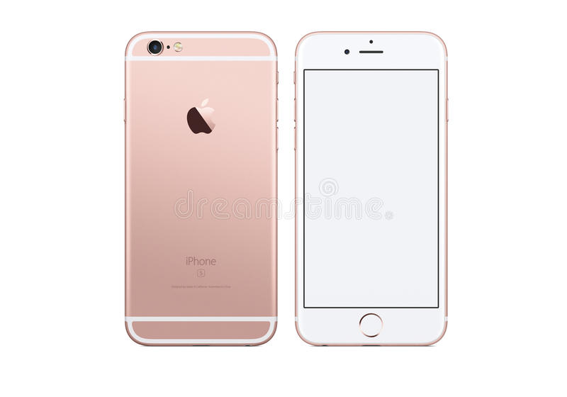IPhone 6S. Rose Gold. IPhone front and back view isolated on white background stock illustration