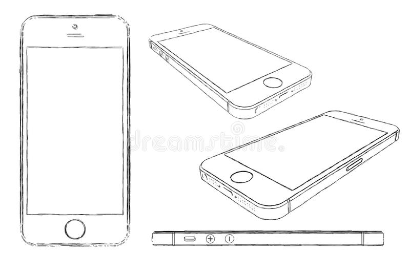 IPhone 5s skissade teckningen vektor illustrationer