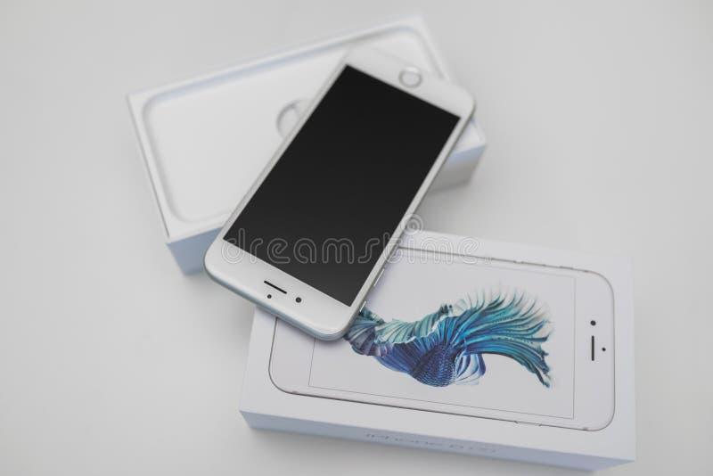 IPhone6s smartphone van Unboxings nieuwe Apple stock fotografie